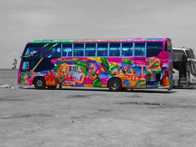 Typical Thai Bus With Graffitied Body